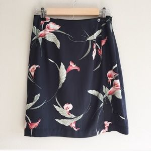 Tommy Bahama Silk Hawaiian Black Floral Wrap Skirt
